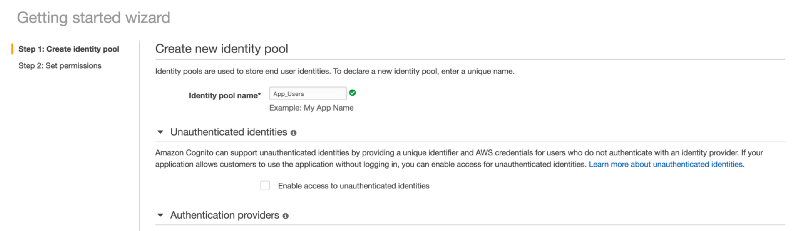 create a new identity pool